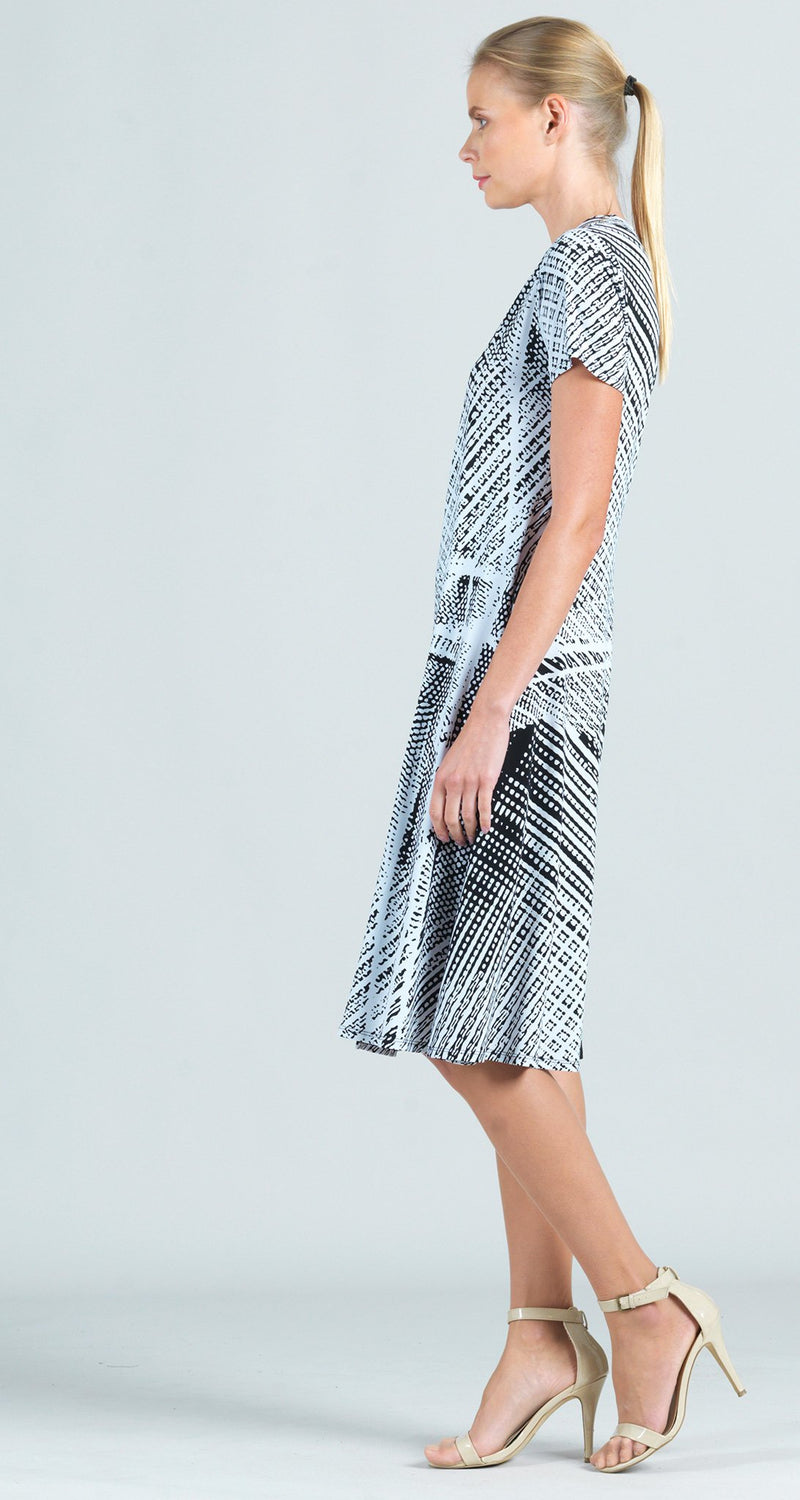 Thread Print Faux Wrap V-Neck Dress
