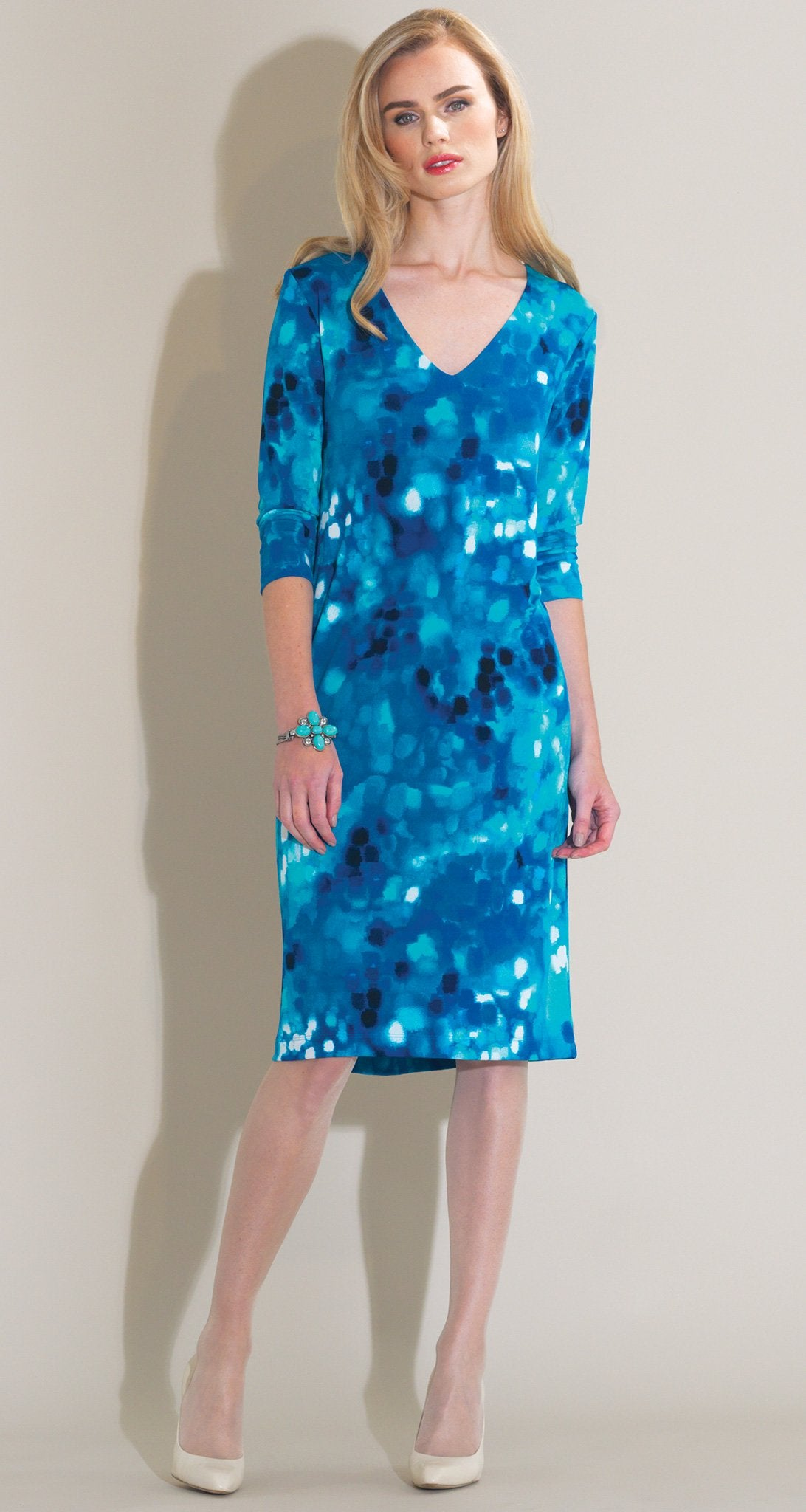 Water Drop Print V-Neck Dress - Turquoise Multi