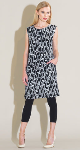 Mod Inspired Textured Pocket Dress - Black/White - Clara Sunwoo