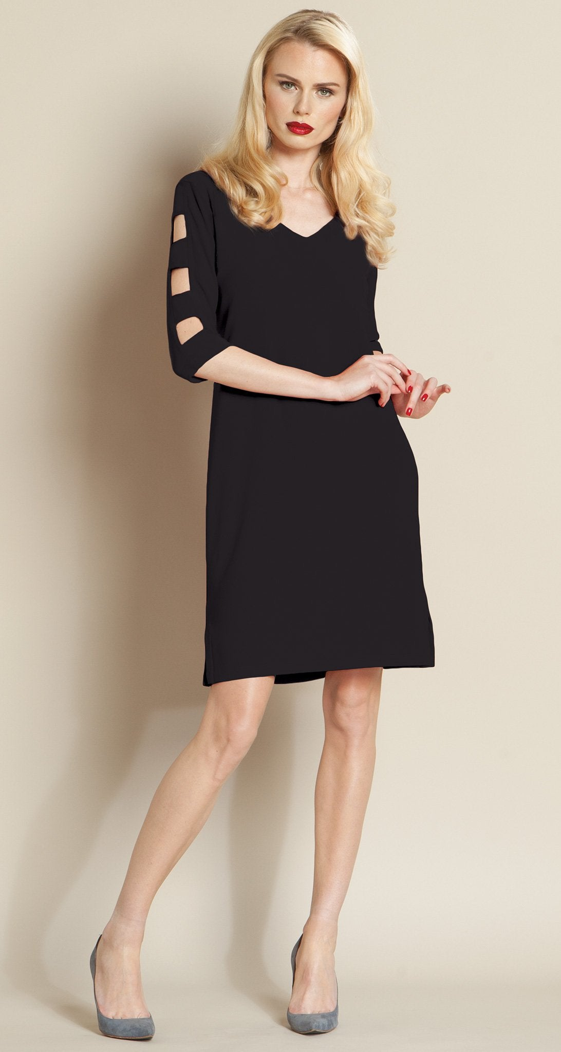 Ladder Sleeve Dress - Black