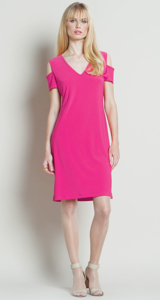Open Shoulder V-Pull Over Dress - Fuchsia - Final Sale!