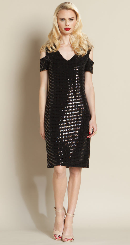 Shimmer Open Shoulder Dress - Black