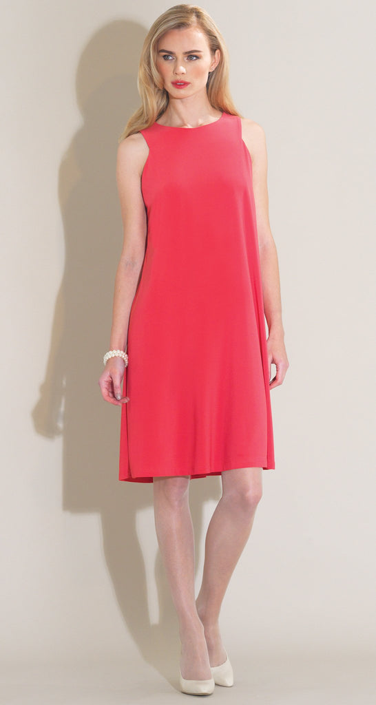 Jewel Neck  Sleeveless Swing Dress - Coral