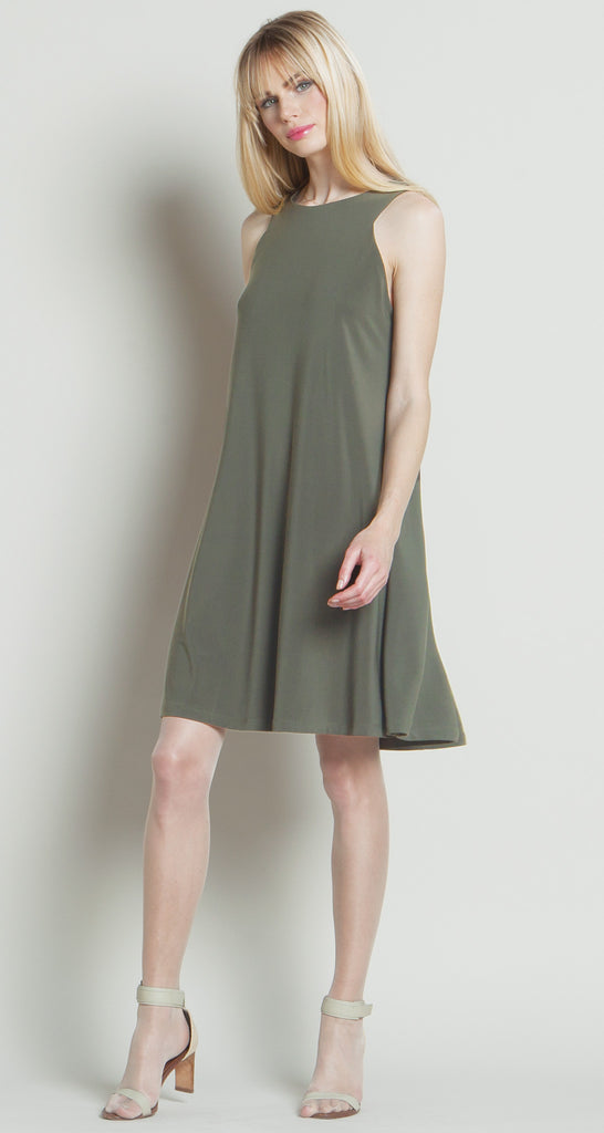 Jewel Neck Swing Dress - Olive - Final Sale!