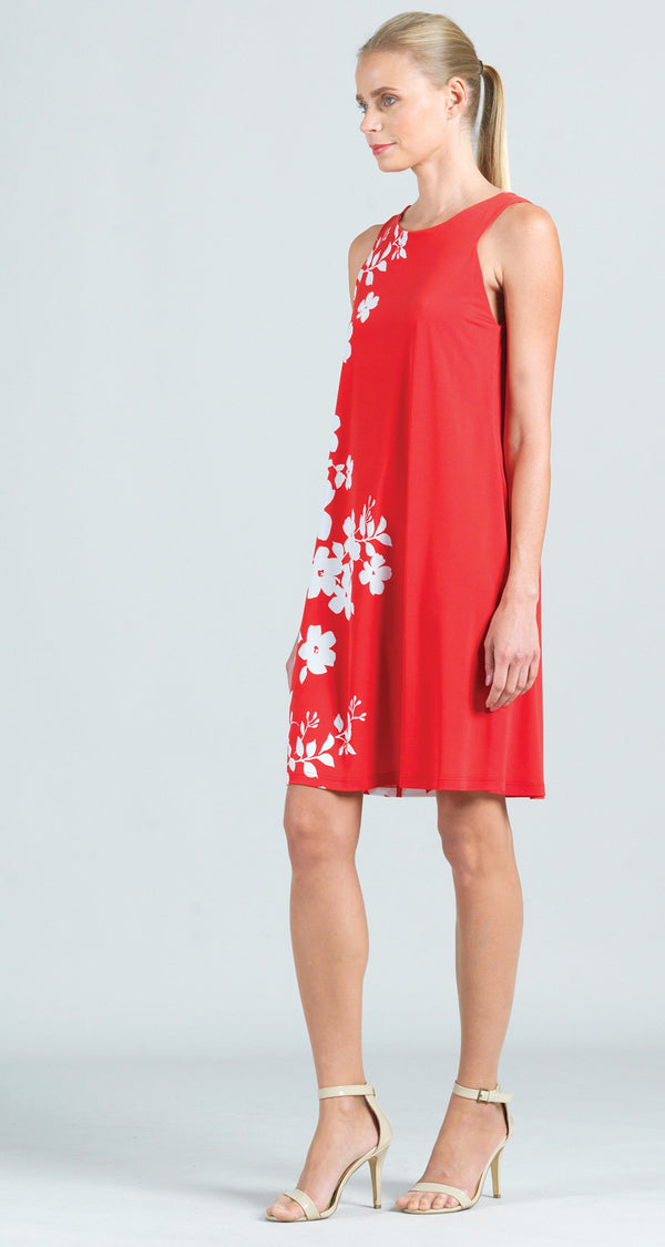 Floral Vine Print Jewel Neck Swing Dress - Coral - Final Sale!