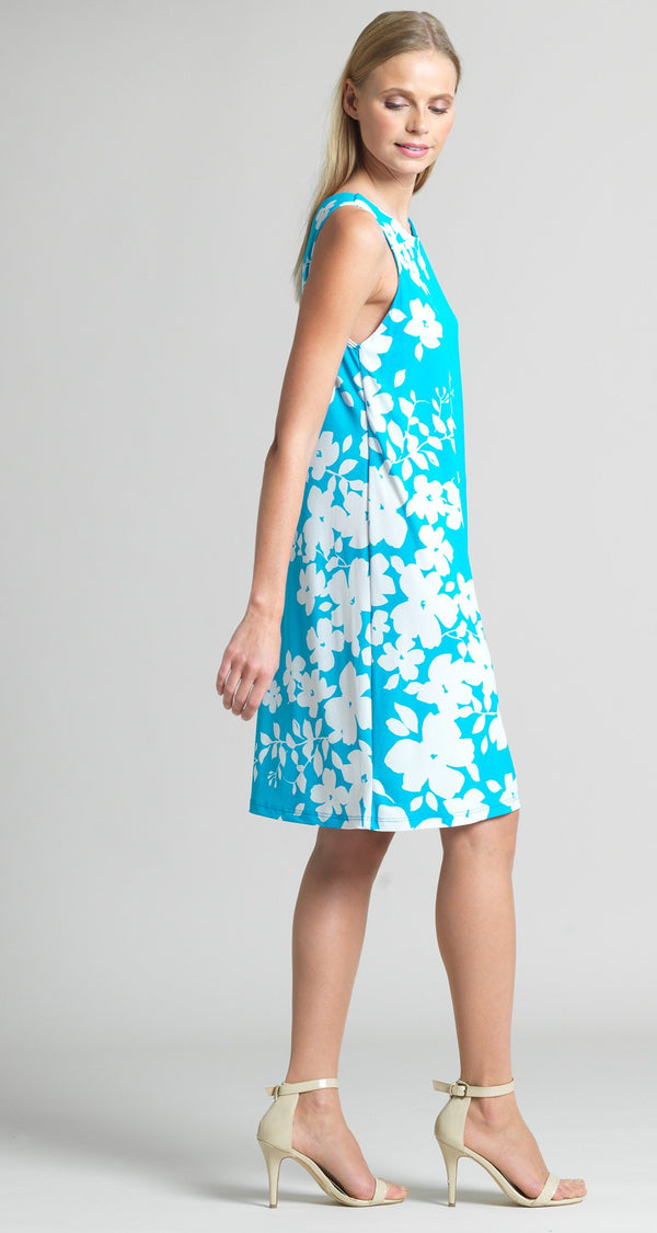 Floral Vine Print Jewel Neck Swing Dress - Turquoise - Clara Sunwoo