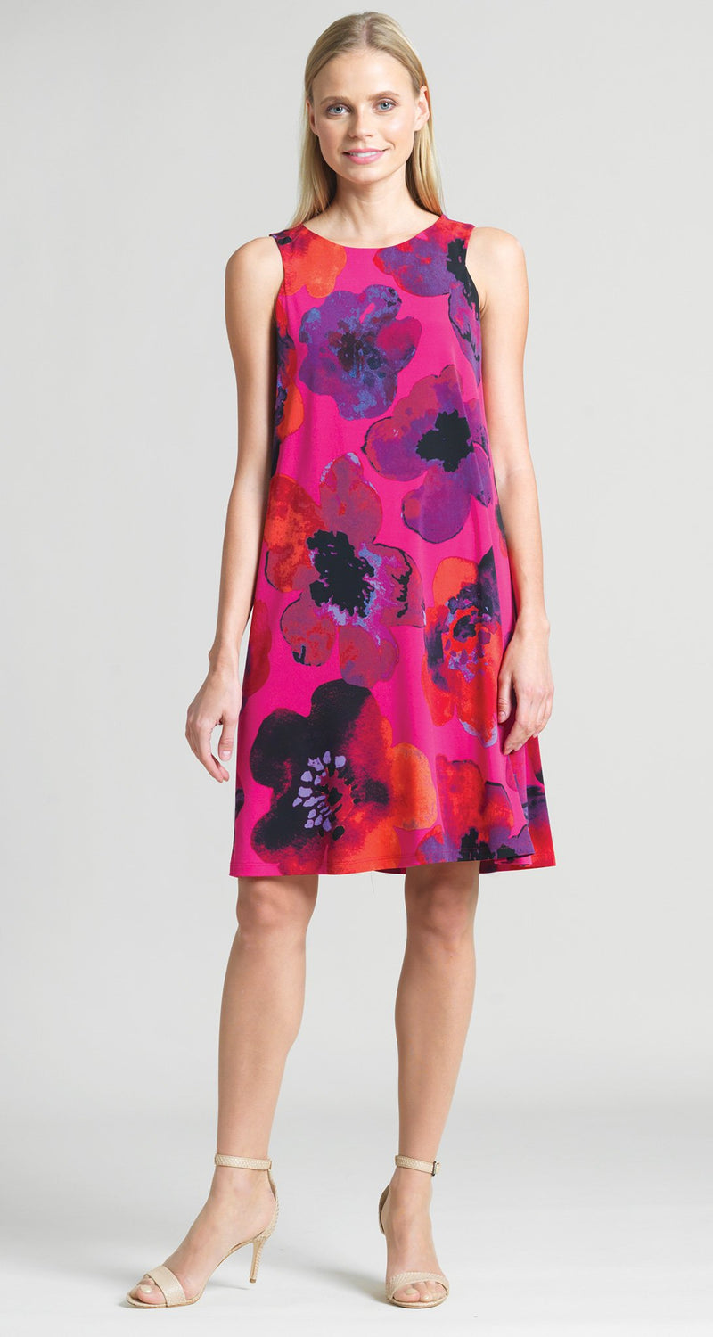 Poppy Print Jewel Neck Swing Dress - Clara Sunwoo