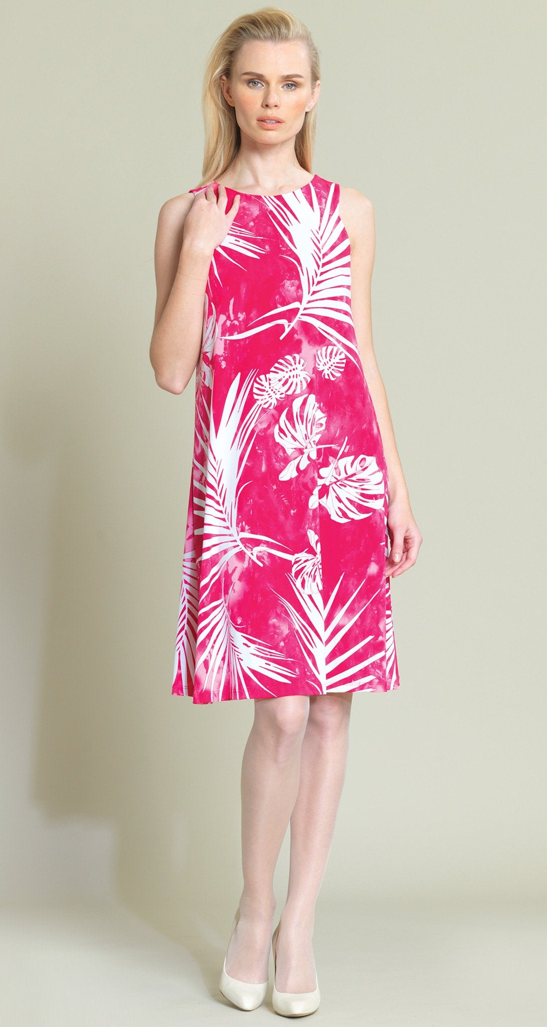 Palm Print Jewel Neck Swing Dress - Pink/White - Clara Sunwoo