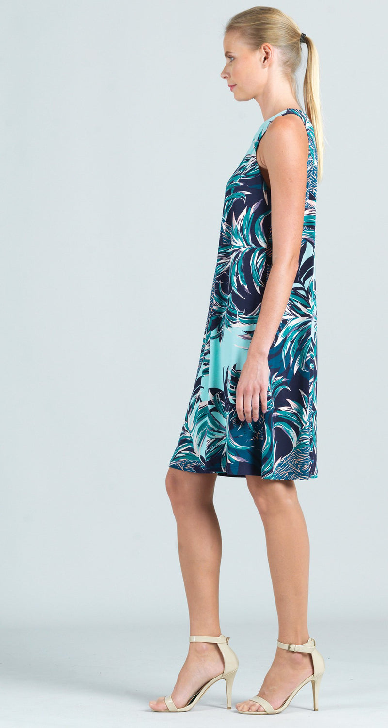 Multi Media Palm Print Jewel Neck Swing Dress - Limited Sizes!