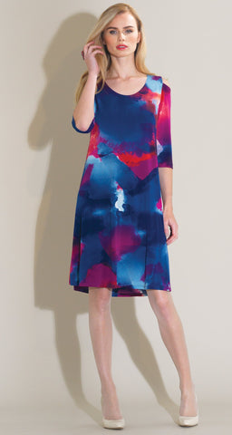 Watercolor Open Shoulder Swing Dress - Fuchsia Multi - Clara Sunwoo