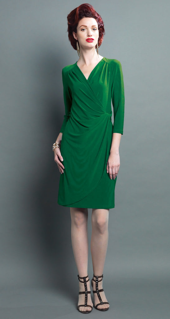Faux Tie 3/4 Sleeve Wrap Dress - Emerald Green - Final Sale!
