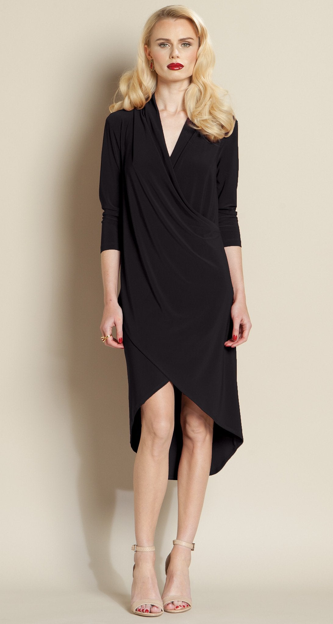 Crossover Tulip Hem Dress - Black