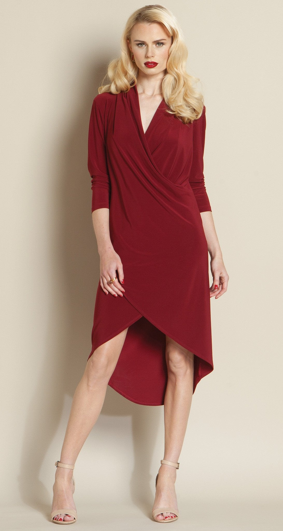 Crossover Tulip Hem Dress - Merlot - Final Sale! - Clara Sunwoo