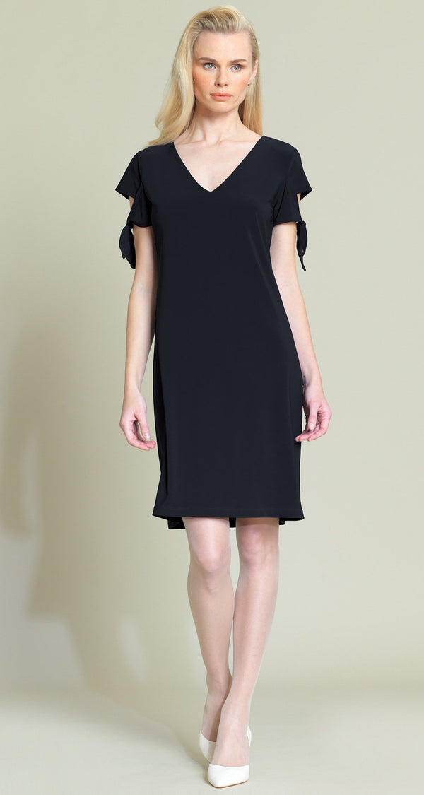 Tie Sleeve Shift Dress - Black - Final Sale! - Clara Sunwoo