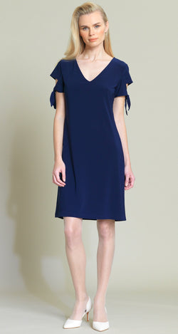 Tie Sleeve Shift Dress - Navy - Final Sale! - Clara Sunwoo
