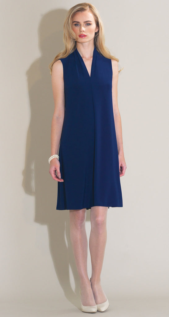 Solid Narrow V Sleeveless Swing Dress - Navy - Final Sale!