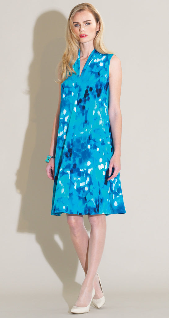 Water Drop Narrow V Sleeveless Swing Dress - Turquoise Multi - Final Sale!