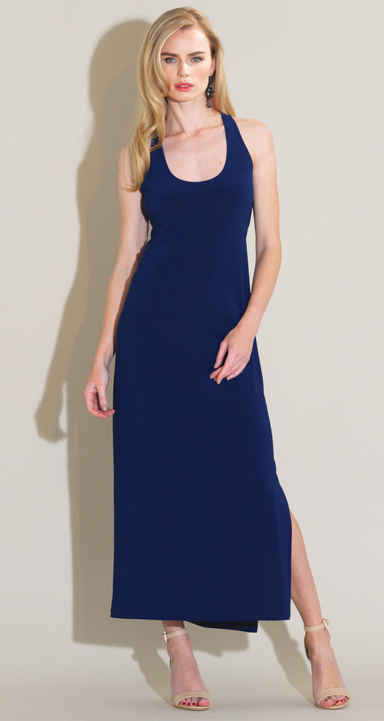 Solid Racer Back Maxi Dress - Navy