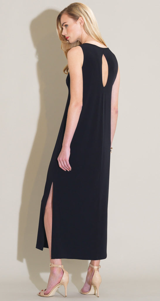 Keyhole Back Side Vent Maxi Dress - Black