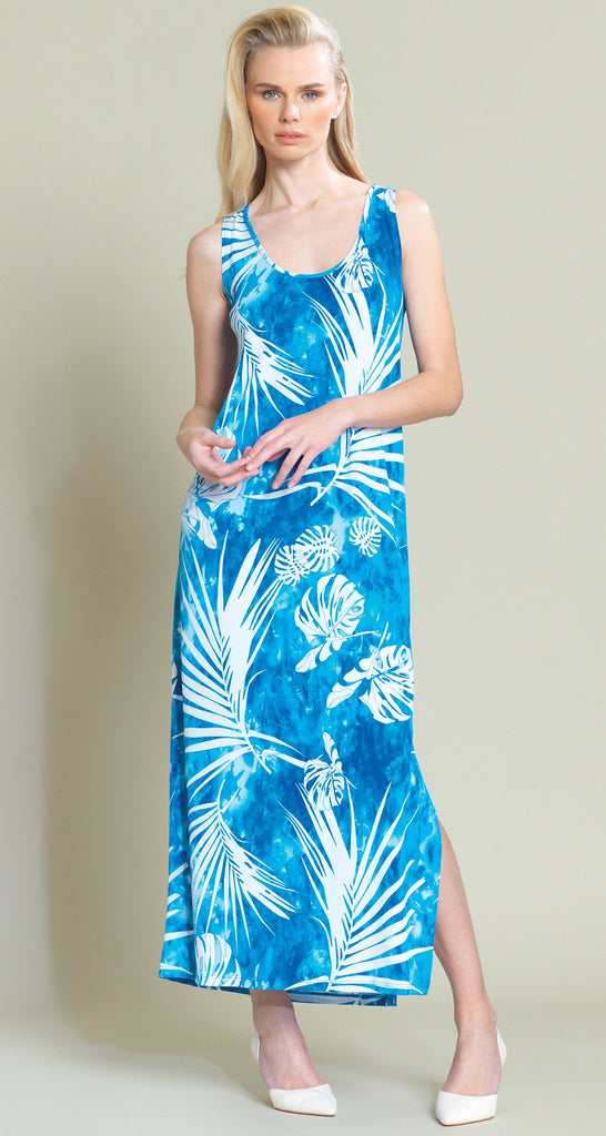 Palm Print Keyhole Back Side Vent Maxi Dress - Blue/White