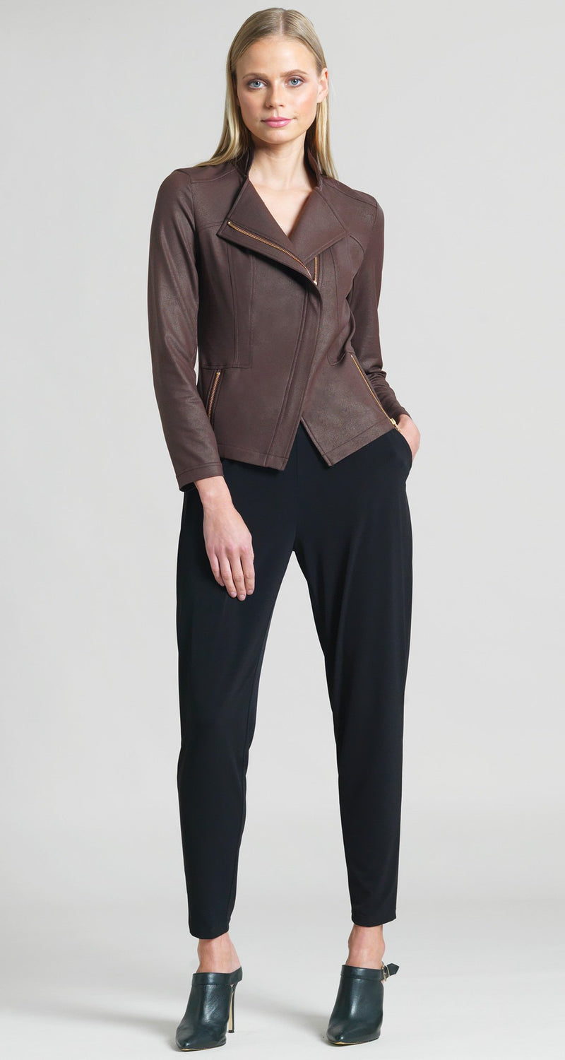 Liquid Leather Zip Jacket - Brown - Clara Sunwoo