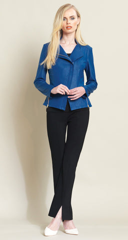 Liquid Leather Zip Jacket - Cobalt - Clara Sunwoo