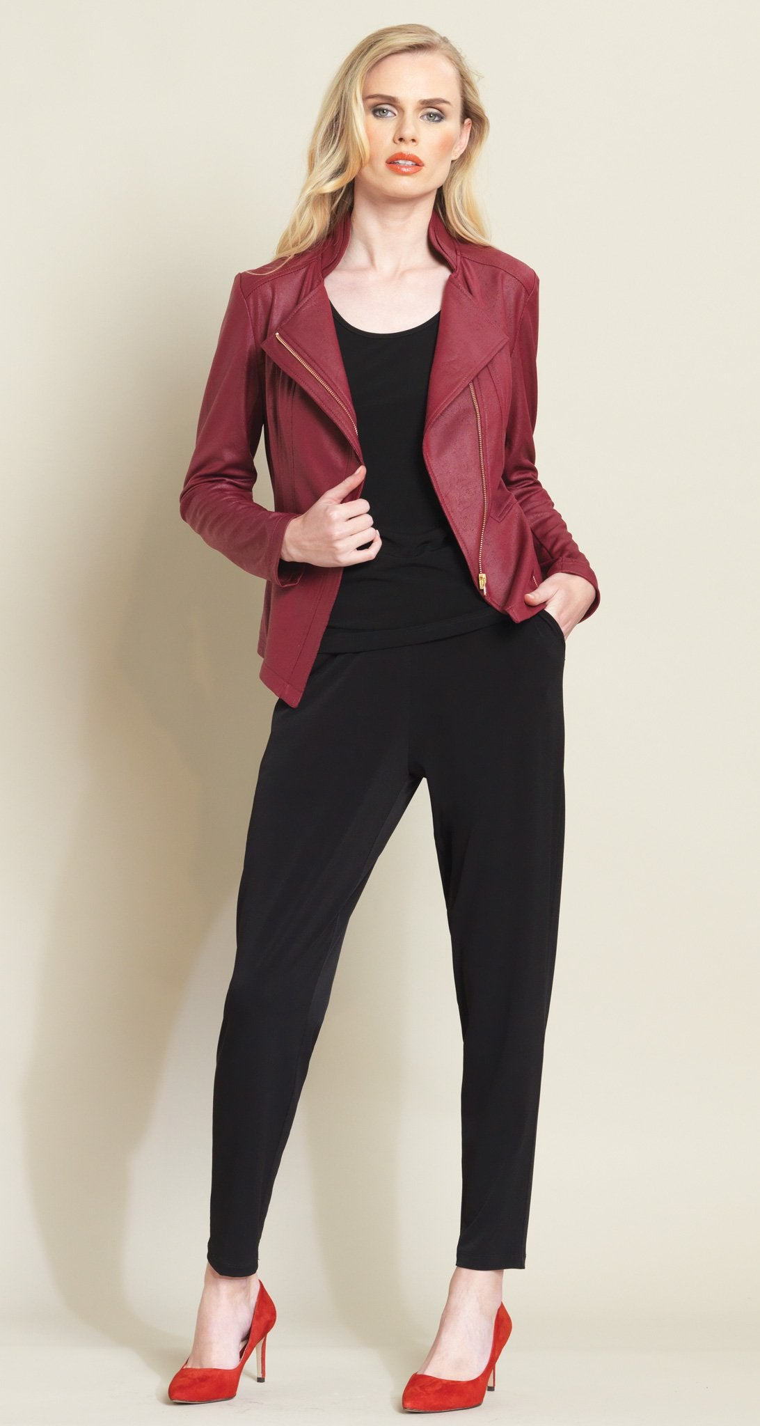Liquid Leather Zip Jacket - Merlot - As Seen on Today Show! - Clara Sunwoo