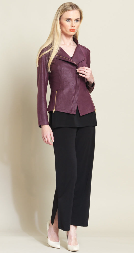 Liquid Leather Zip Jacket - Plum