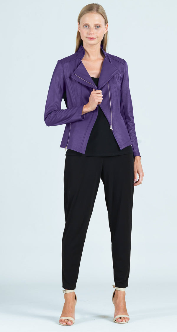 Liquid Leather Zip Jacket - Purple