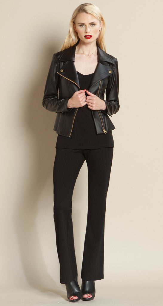 Contemporary Liquid Leather Zip Jacket - Black