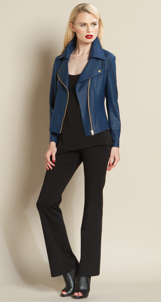 Contemporary Liquid Leather Zip Jacket - Navy - Size XS, M Only!