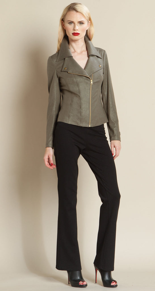 Contemporary Liquid Leather Zip Jacket - Olive