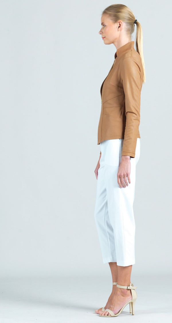 Liquid Leather Slit Pocket Jacket - Camel