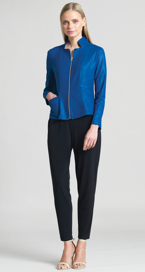 Liquid Leather Slit Pocket Jacket - Cobalt - As seen on Today Show! - Clara Sunwoo