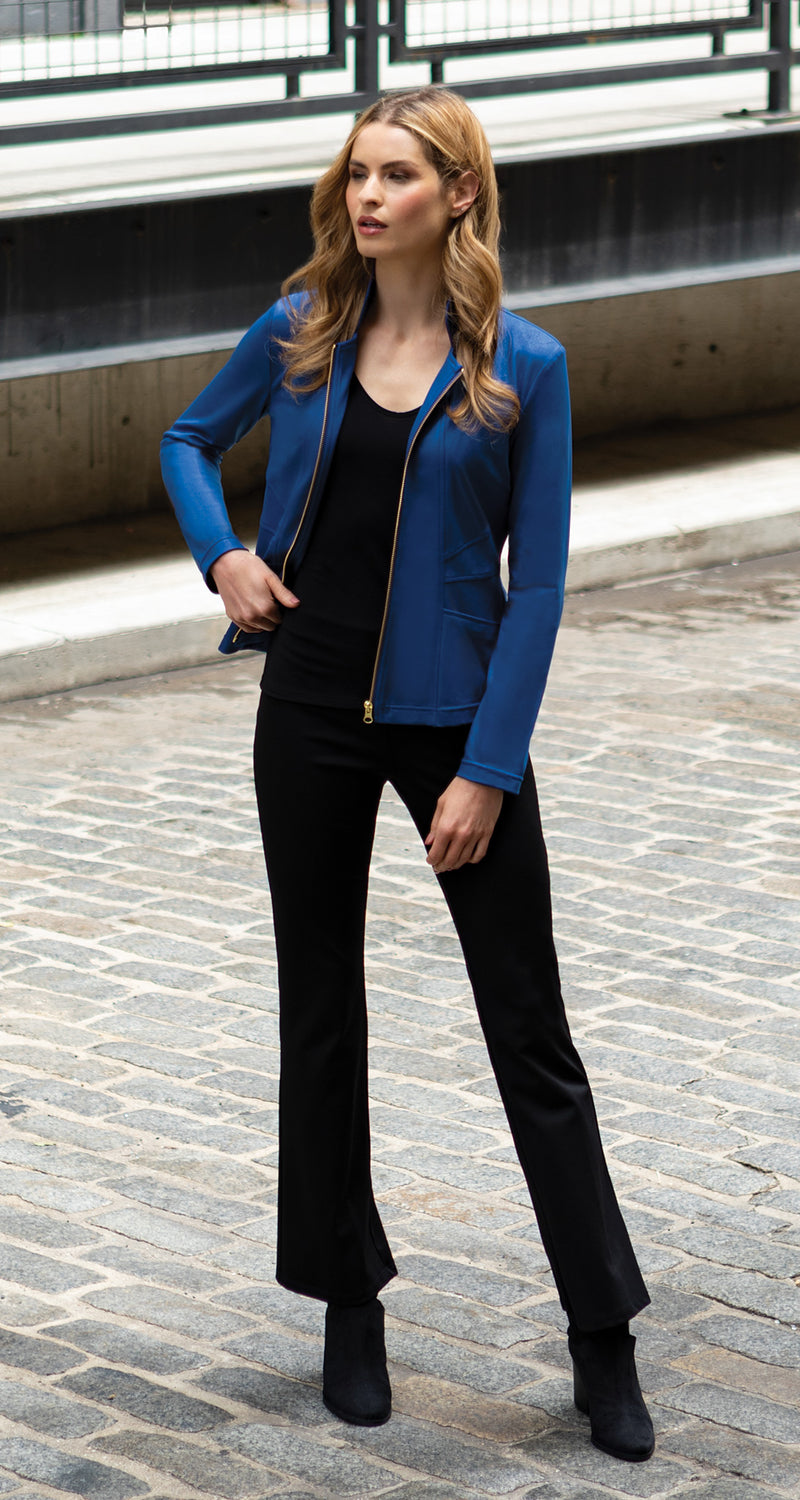Liquid Leather Slit Pocket Jacket - Cobalt - Limited Sizes! - Clara Sunwoo