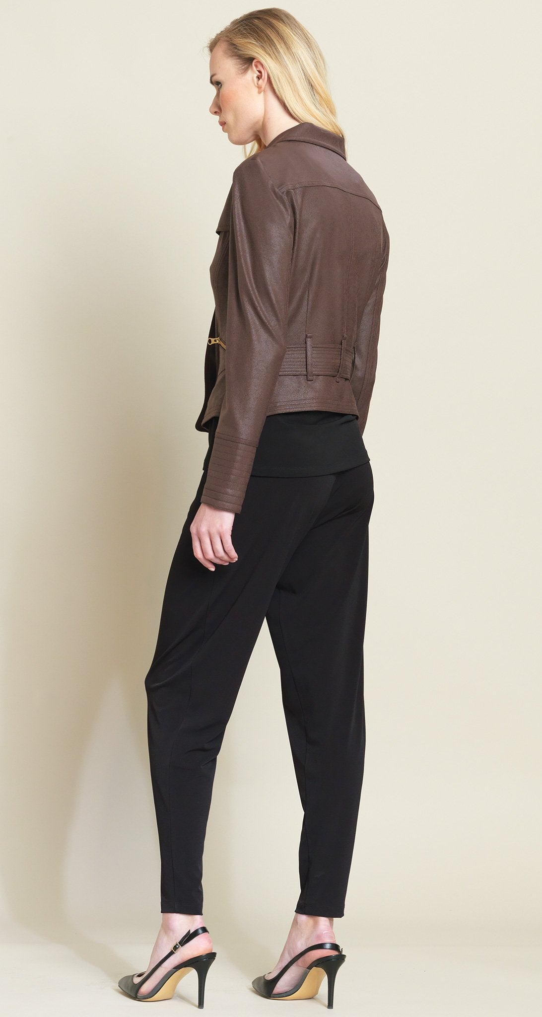 Belted Liquid Leather Pocket Zip Jacket - Brown - Final Sale - Clara Sunwoo