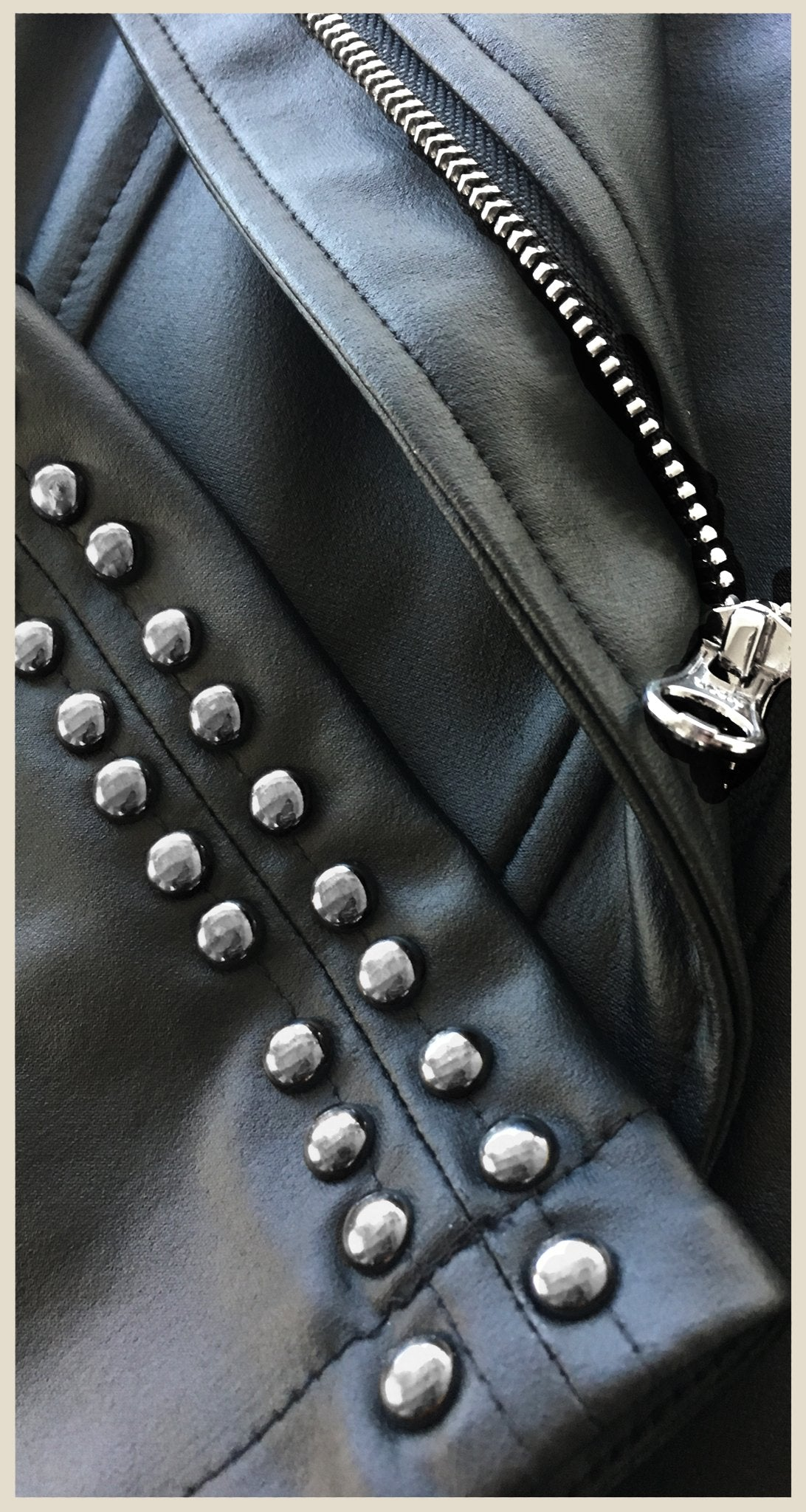 Limited Edition Studded Liquid Leather Jacket - Black