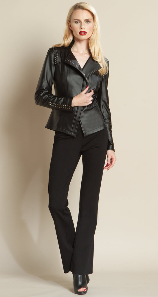 Limited Edition Studded Liquid Leather Jacket - Black - Size XS, S, M, L Only!