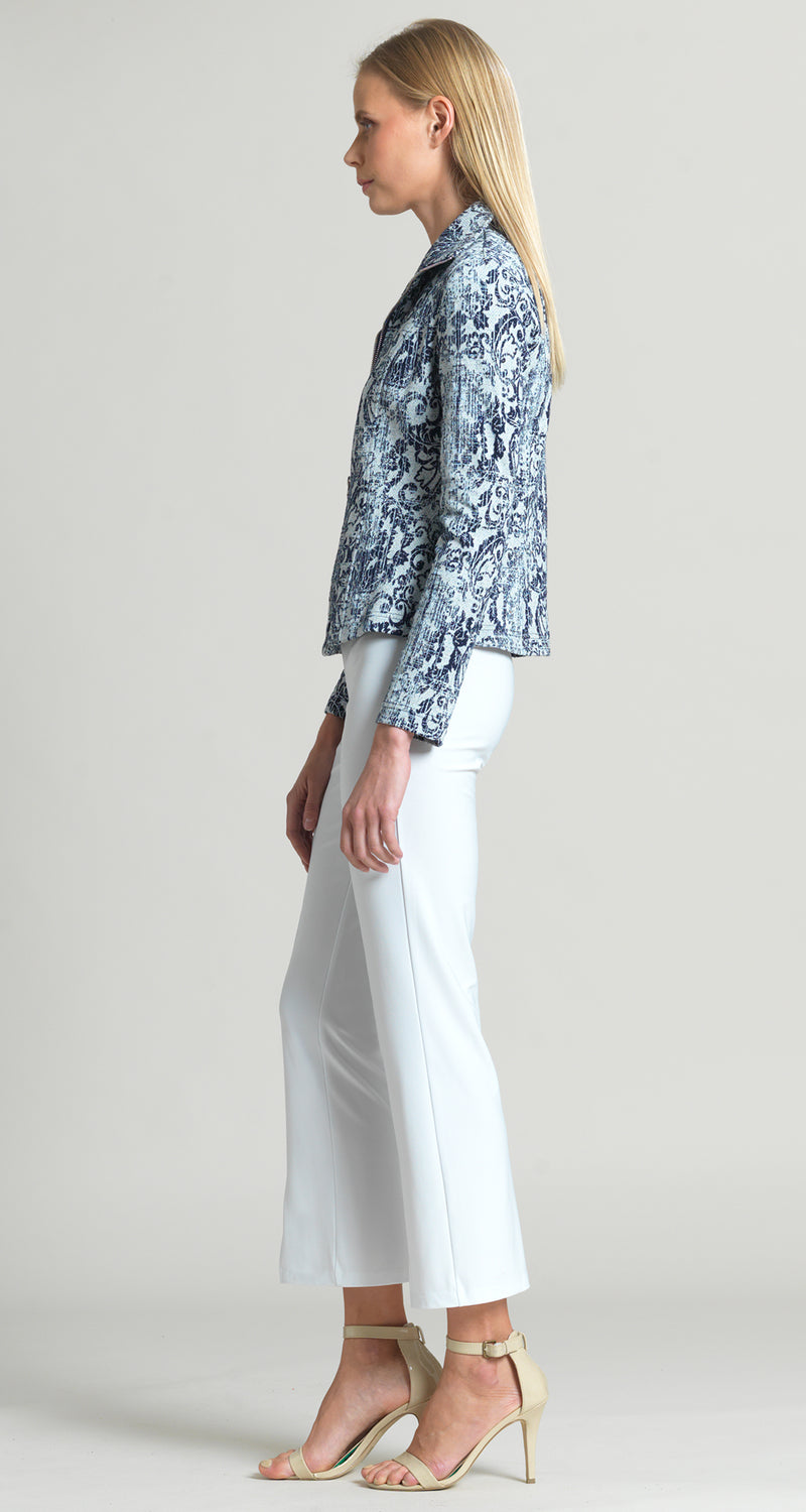 Jacquard Paisley Print Zip Jacket - Navy/Grey - Final Sale! - Clara Sunwoo