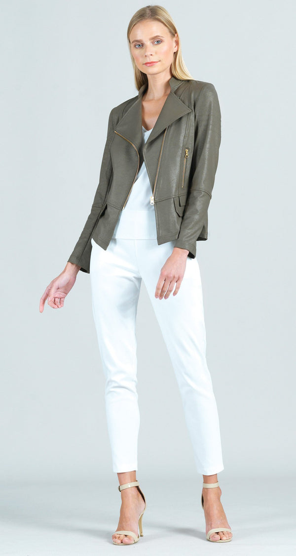 Liquid Leather Biker Jacket - Olive