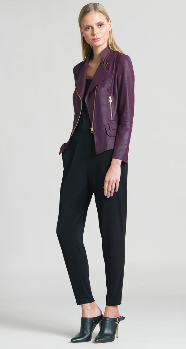 Liquid Leather Biker Jacket - Plum - Clara Sunwoo