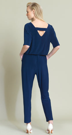Solid V-Cross Bar Cut-Out Jogger Pocket Jumpsuit - Navy - Final Sale!