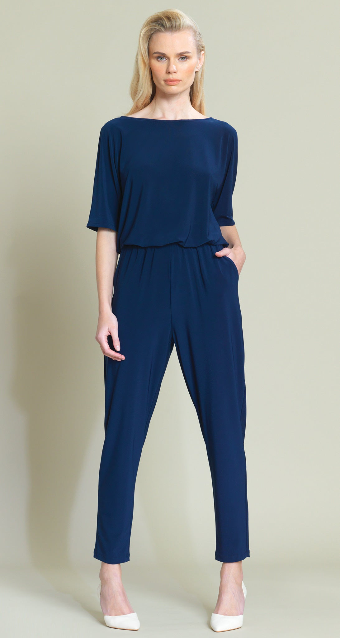 Solid V-Cross Bar Cut-Out Jogger Pocket Jumpsuit - Navy - As Worn by Kathie Lee Gifford!
