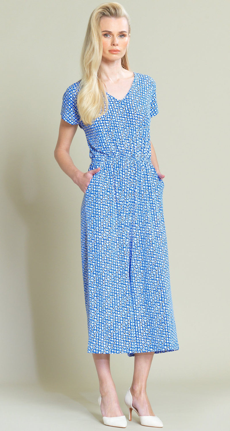 Mini Square Print Midi Pocket Jumpsuit - Blue/White - Limited Sizes - Sizes L, XL, 1X - Clara Sunwoo