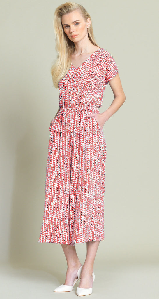 Mini Square Print Midi Pocket Jumpsuit - Coral/White