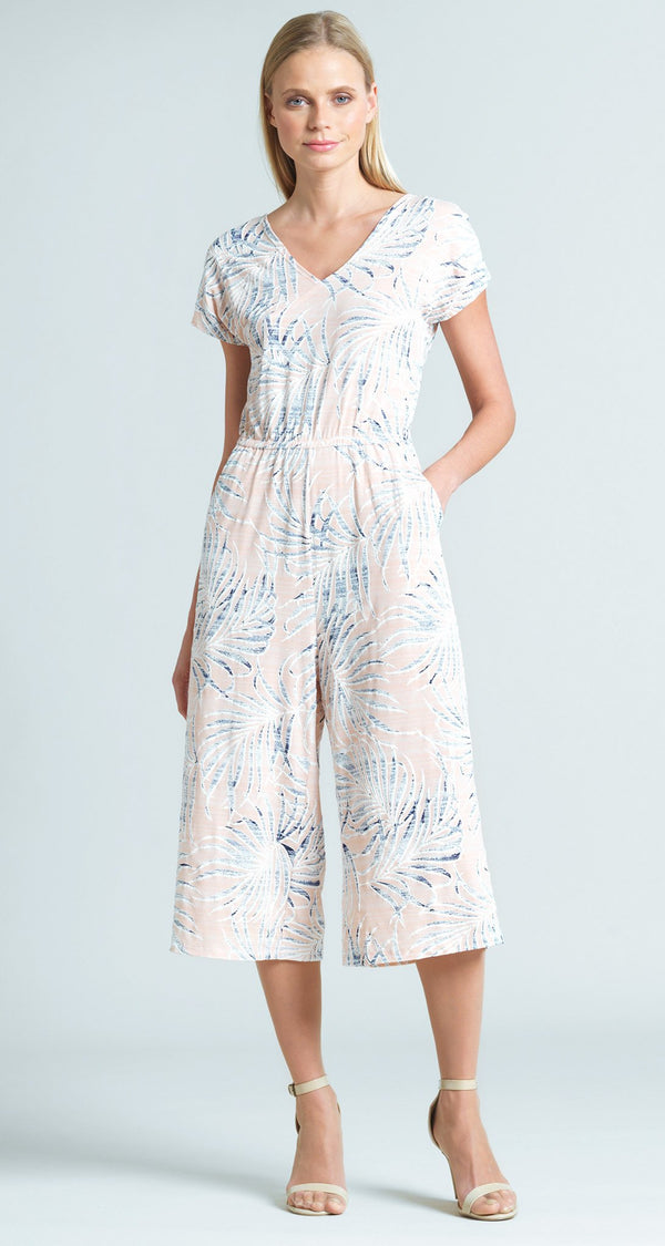 Tropical Floral Print Midi Pocket Jumpsuit - Blush - Final Sale!