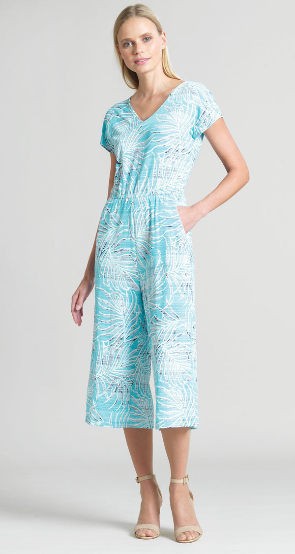 Tropical Print Midi Pocket Jumpsuit - Turquoise - Limited Sizes! - Clara Sunwoo