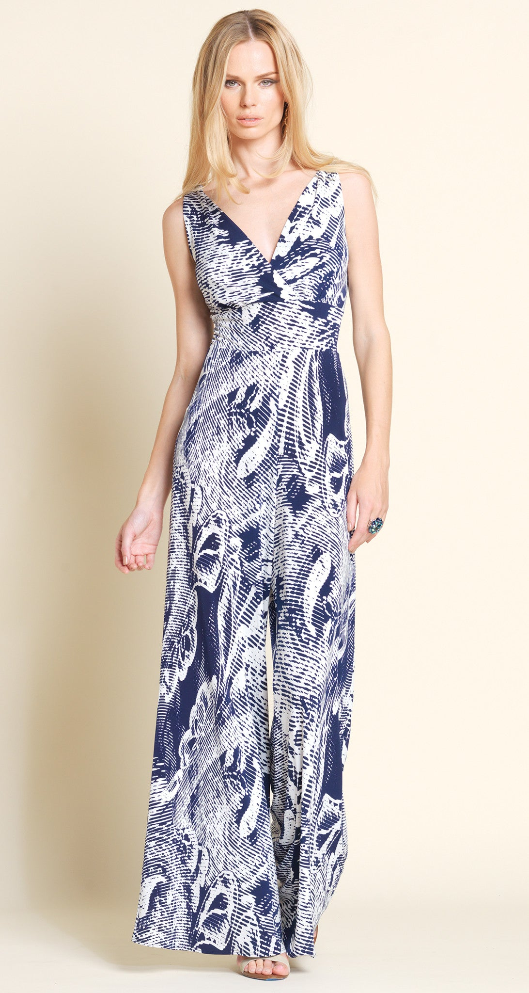 Print  Pull On Jumpsuit - White/Navy - Final Sale!