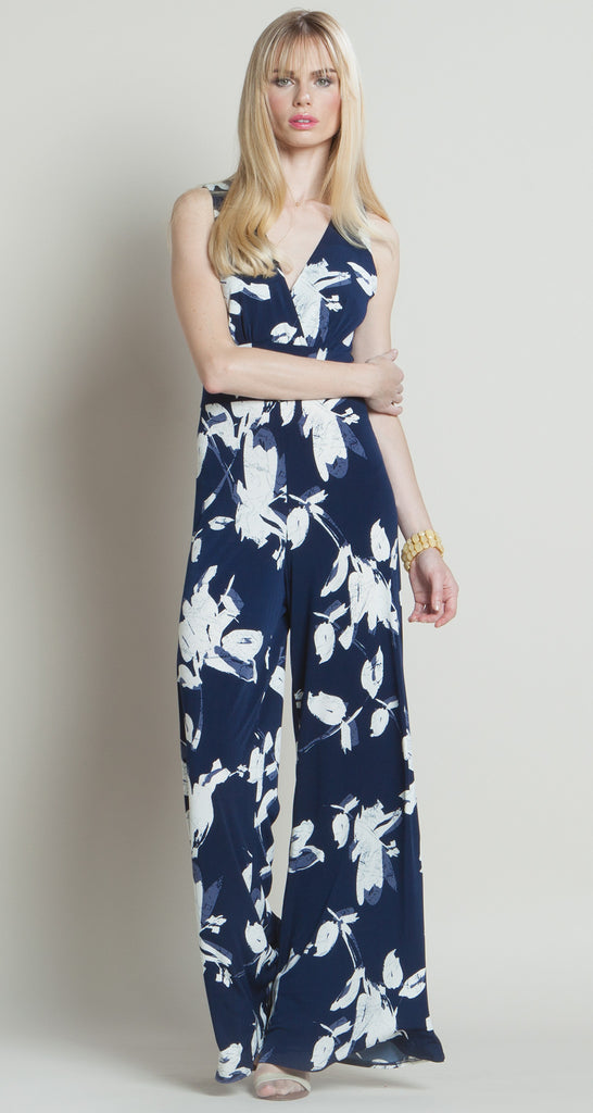 Print V-Neck Jumpsuit - Navy/White - Final Sale!