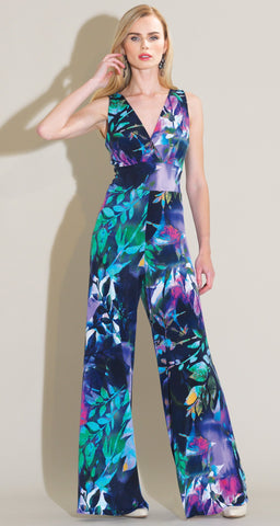 Floral Dream Print Jumpsuit - Navy Multi - Clara Sunwoo